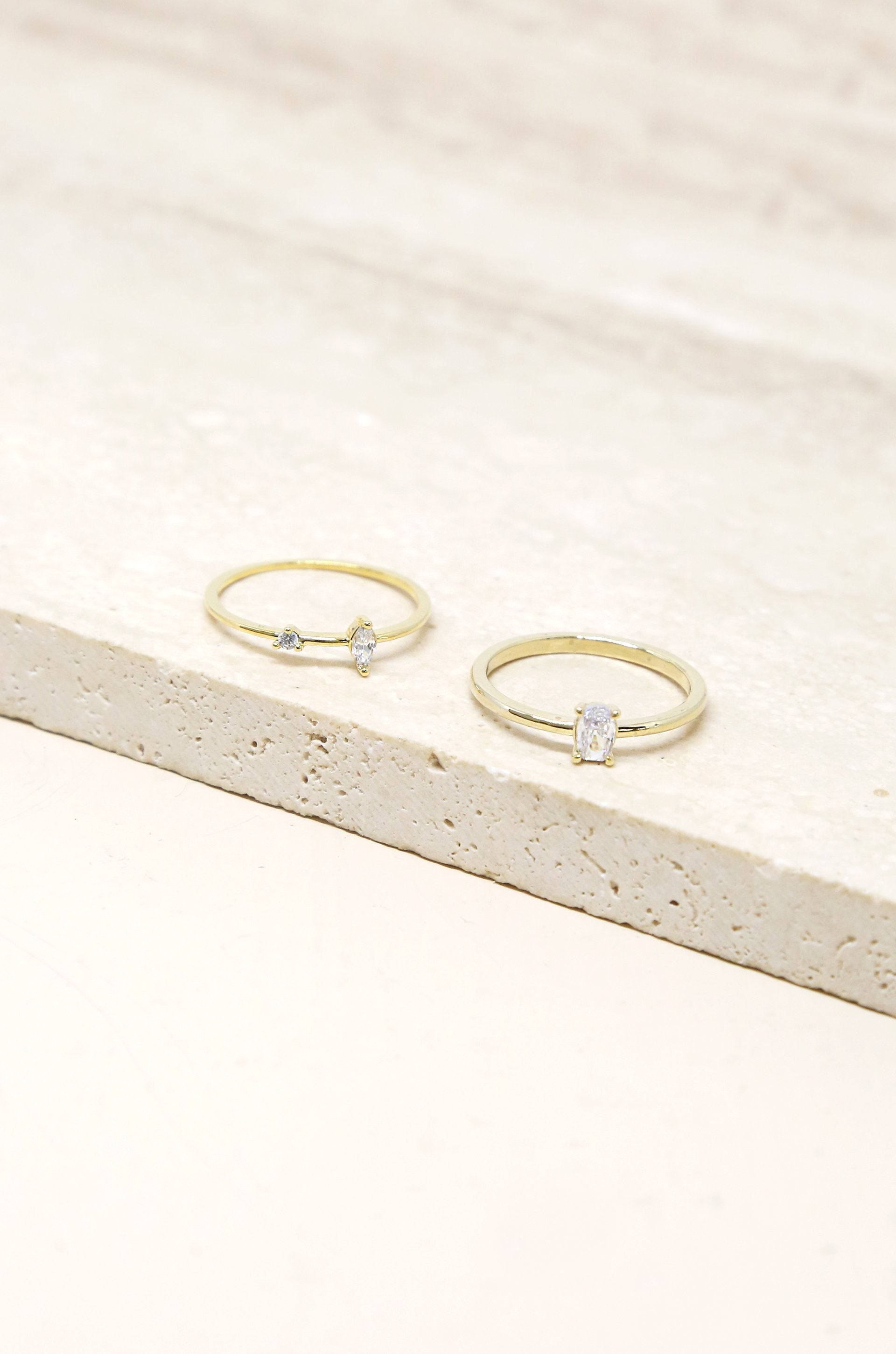Stackable Crystal  Ring Set