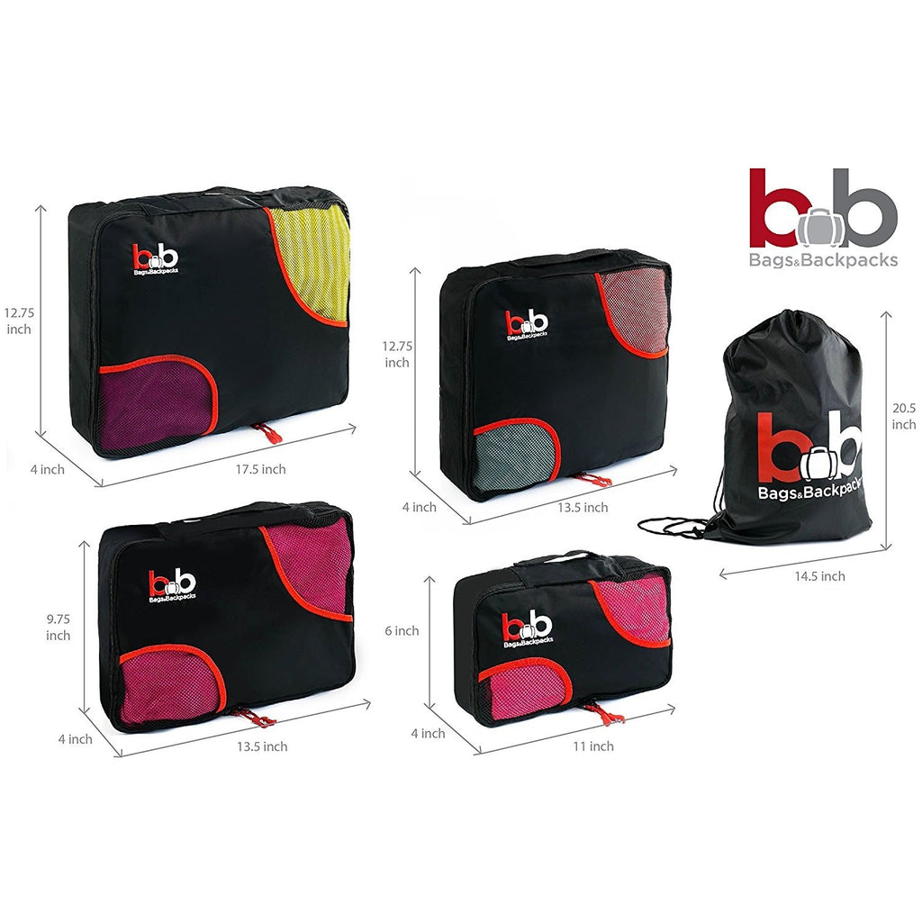 4pc Travel Packing Cubes Set + FREE Laundry Bag by B&B - Travel Pact