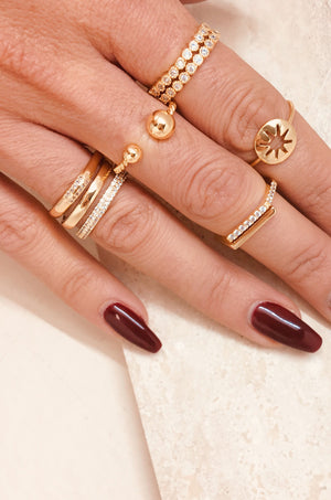 Set of 2 18kt Gold Plated Orbital Crystal Ring Set