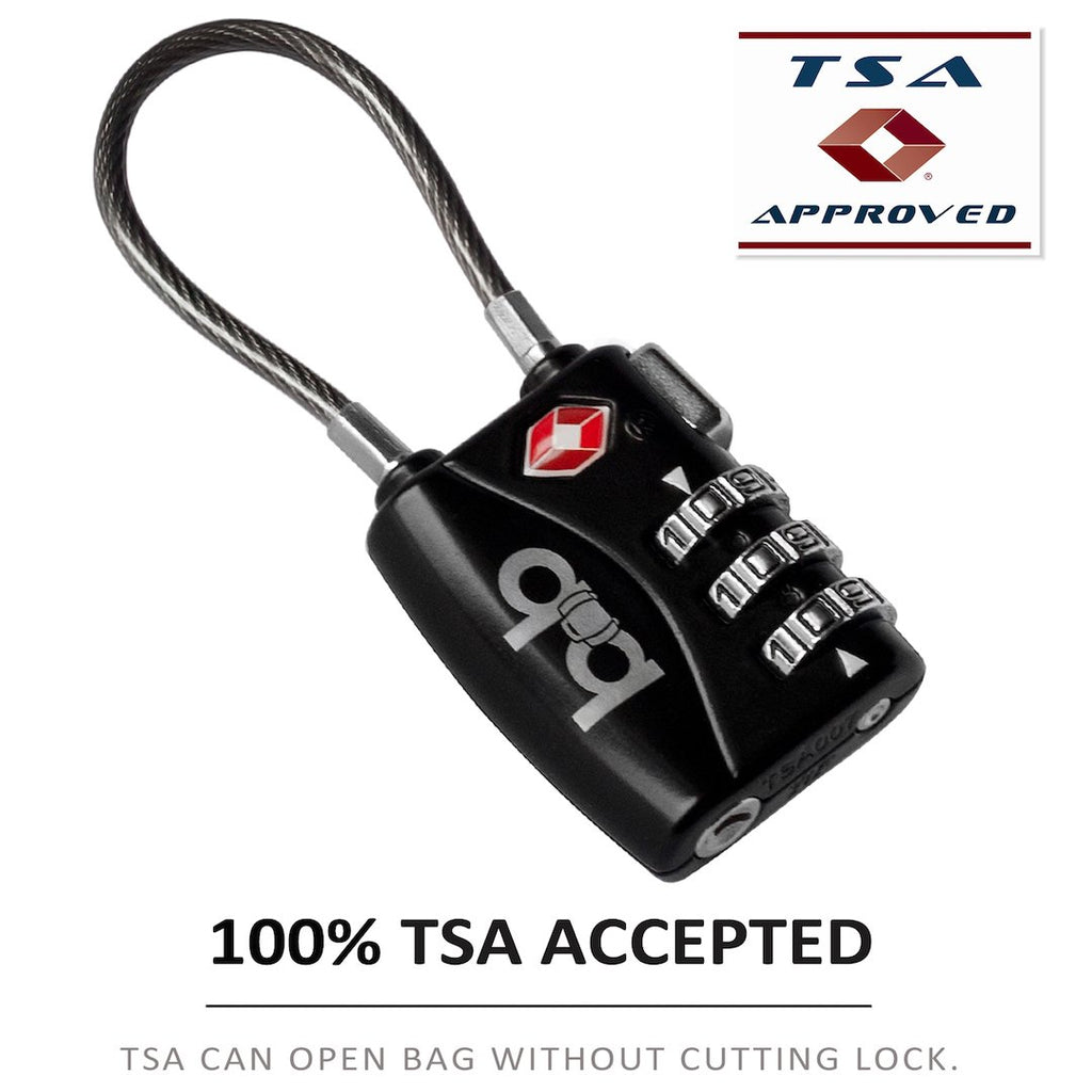 TSA Approved Cable Luggage Lock to Secure & Protect by B&B-Travel Pact