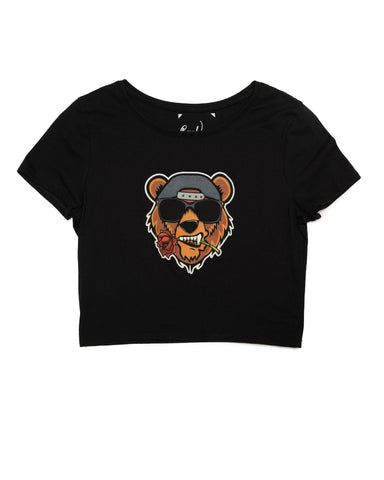 Ladies Crop Rose Bear Tee