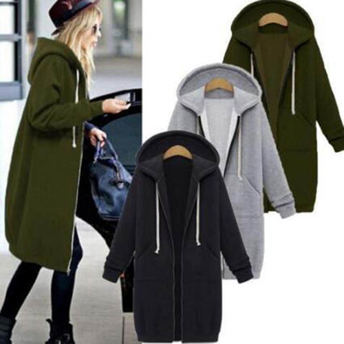 Women Long Coat Autumn Winter Casual Hooded Jacket