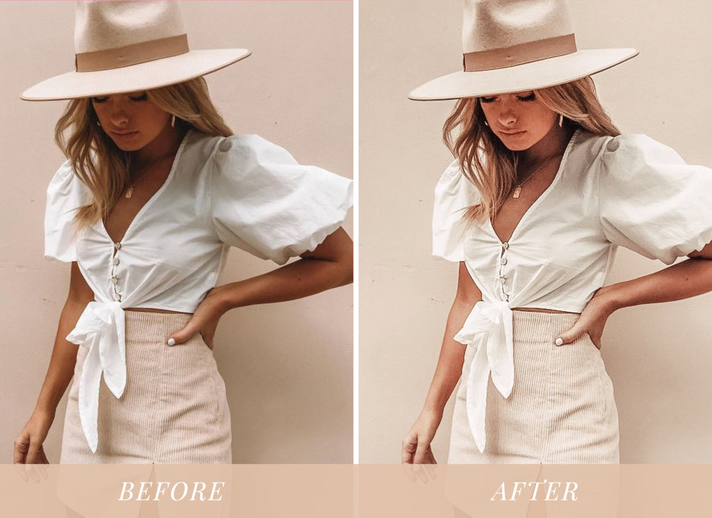 Nude tones lightroom preset before and after