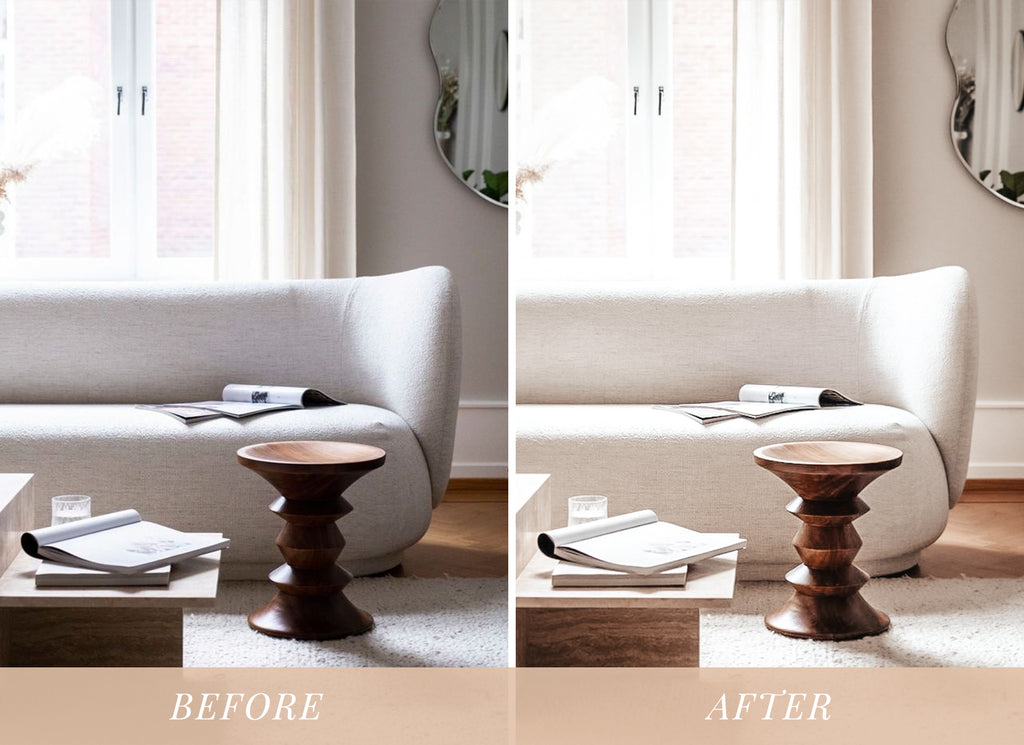 Nude tones lightroom preset before and after interior