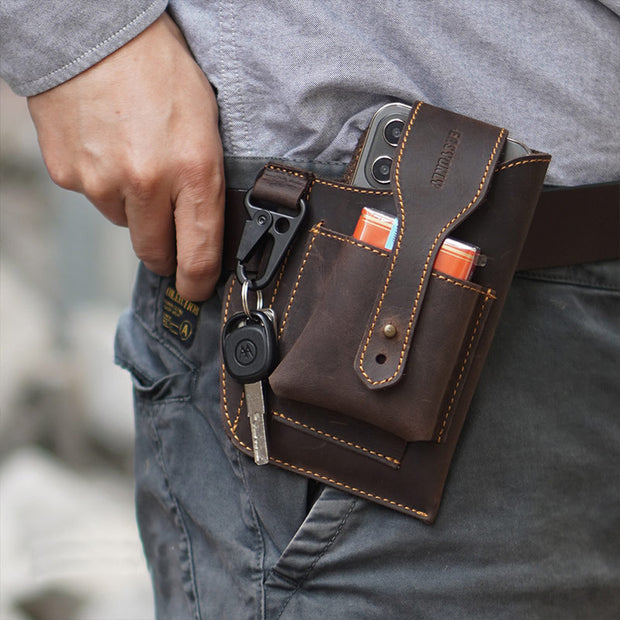 Vintage Outdoor Activity Genuine Leather Waist Phone Bag with Keychain