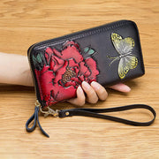 RFID Genuine Leather Vintage Floral Embossing Wallet