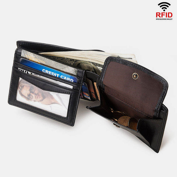 Vintage RFID Large Capacity Short Wallet