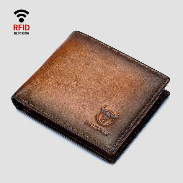 Genuine Leather RFID Multi-Slot Gradient Short Wallet