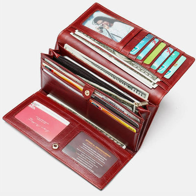 Multi-Slot Real Leather Retro Wallet
