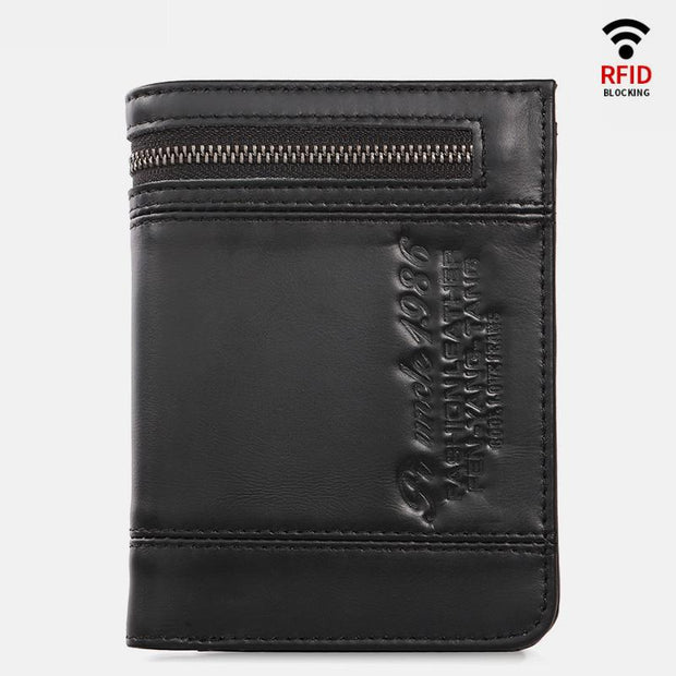 RFID Large Capacity Bifold Retro Wallet