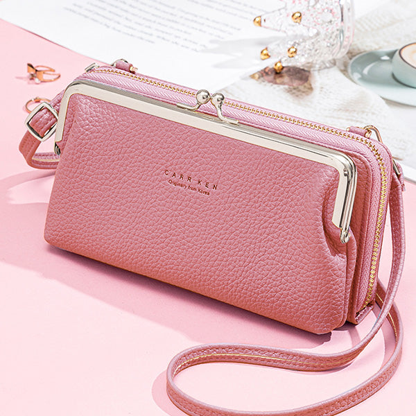 Large Capacity Multifunctional Kiss-lock  Crossbody Phone Bag