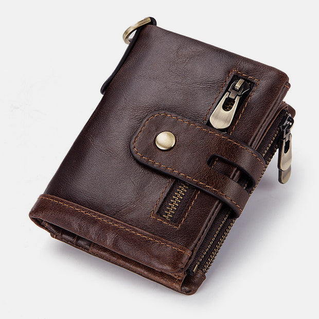 Multifunctional Genuine Leather RFID Bifold Wallet