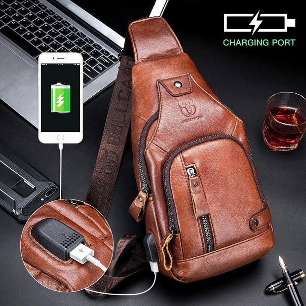USB Charging Real Leather Sling Bag