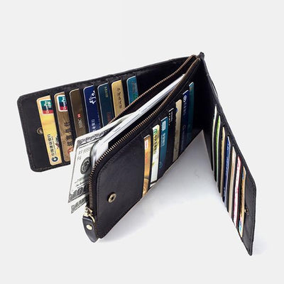 Genuine Leather Multi-Slot Long Wallet