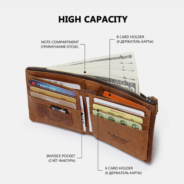 Large Capacity RFID Blocking Retro Real Leather Wallet