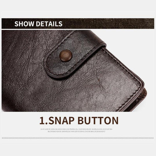 RFID Genuine Leather Multi-slot Bifold Wallet
