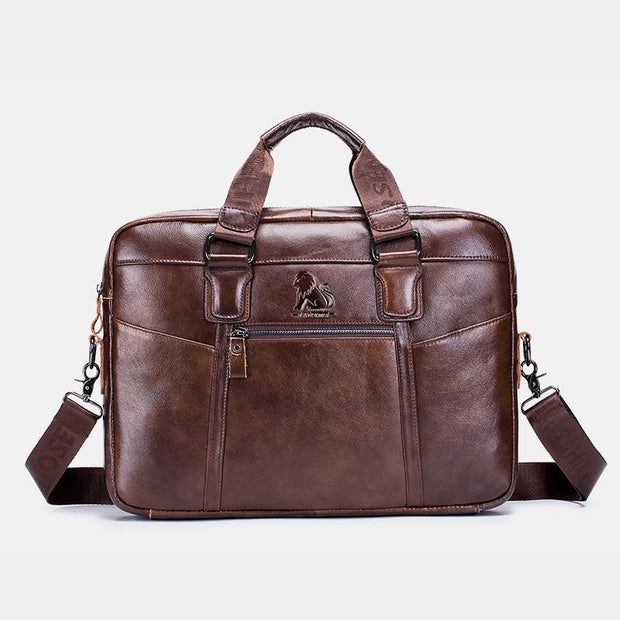 Large Capacity Genuine Leather Business Travel Briefcase