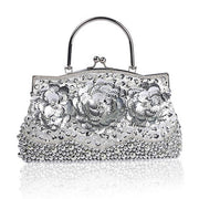 Beaded Sequin Flower Evening Clutch Bag