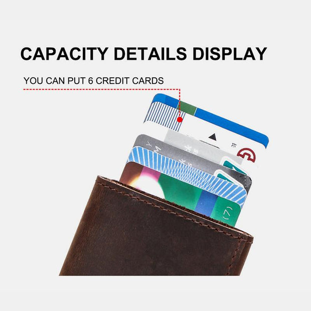 Genuine Leather RFID Classical Wallet With Automatic Pop Up Card Case
