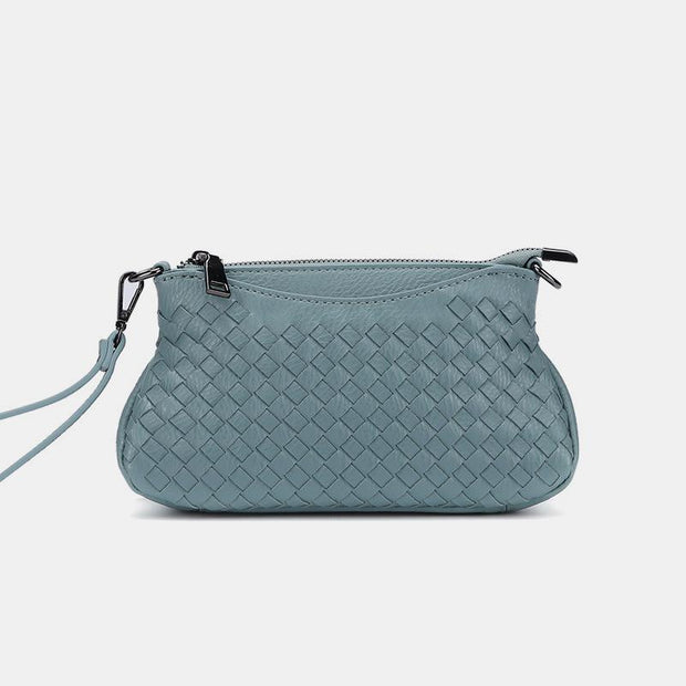 Stylish Woven Crossbody Bag With Wristlet