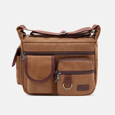 Canvas Multi-Pocket Retro Large Crossbody Bag