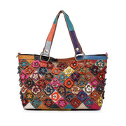 Contrast Color Genuine Leather Multicolor Flower Tote