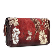 Genuine Leather Large Capacity Floral Printed Vintage Wallet