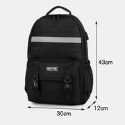 Large Capacity Waterproof School Travel Backpack With Reflective Strip