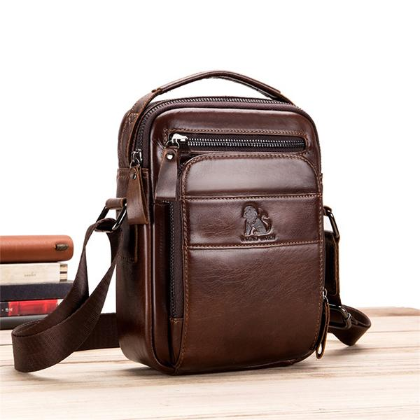 Men's Solid Bag Genuine Leather Crossbody Bag