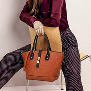 Simply Fashion Contrast Color Tote
