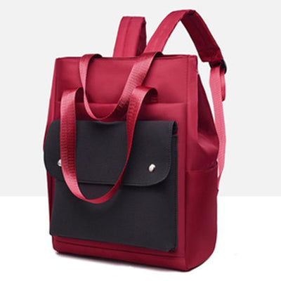 Unisex Color Block Waterproof Backpack