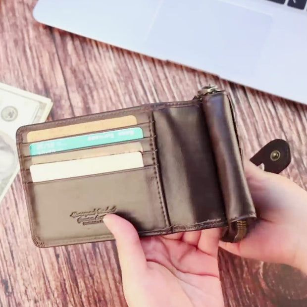 Genuine Leather RFID Short Wallet