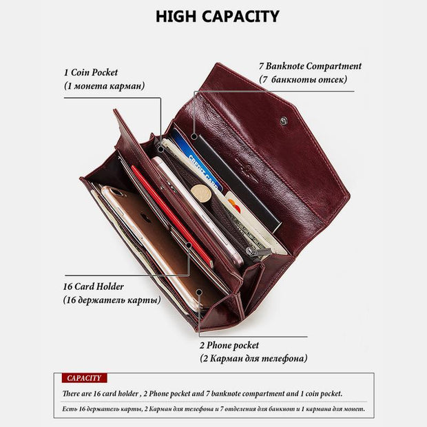 RFID Multi-Card Genuine Leather Wallet