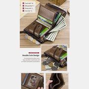 RFID Genuine Leather Retro Zipper Wallet