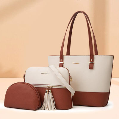 3PCS Retro Large Capacity Handbag Tote Bag Set