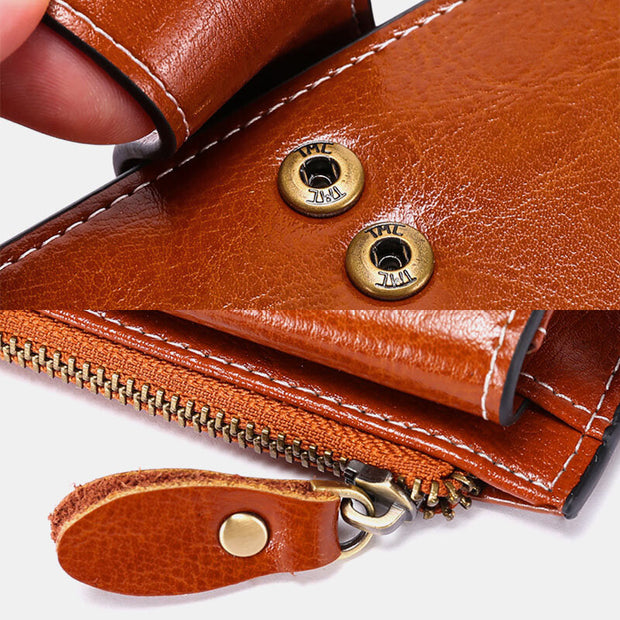 Genuine Leather RFID Anti Theft Oil Wax 6.3 Inch Phone Long Wallet Purse
