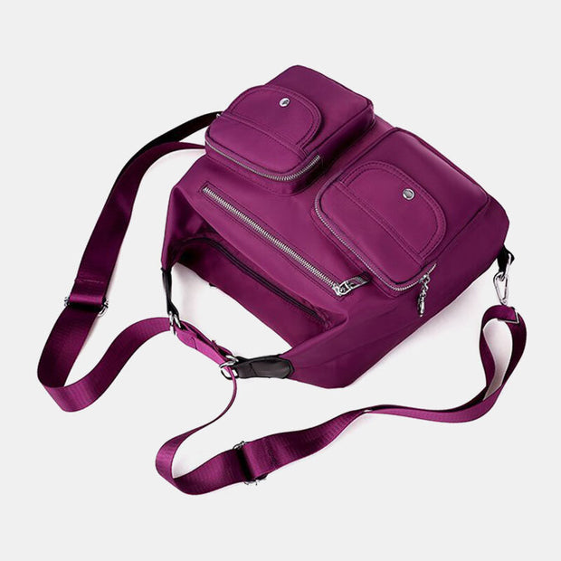 Waterproof Multi-Carry Multi-pocket Solid Crossbody Bag Backpack