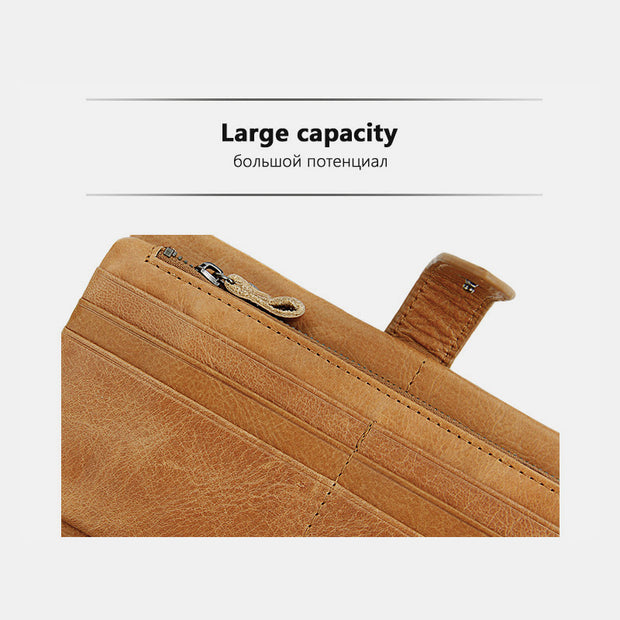 RFID Large Capacity Vintage Genuine Leather Purse
