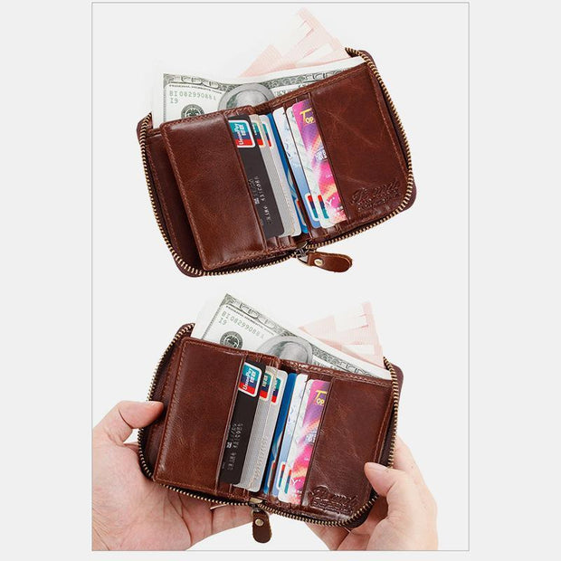 Vertical Multi-Slot Retro RFID Leather Wallet