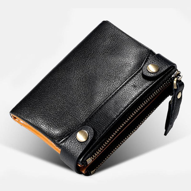 Genuine Leather Multi-function RFID Bifold Wallet