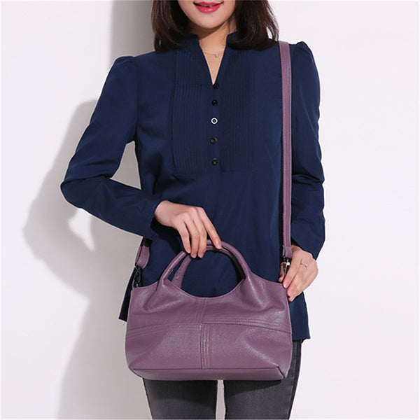Soft Leather Handbags Stitching Solid Shoulder Bag