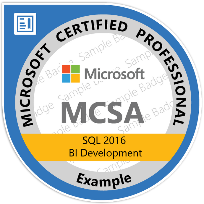 Microsoft MCSA: SQL 2016 BI Development - jrny-training