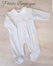 Load image into Gallery viewer, Car smocked velour babygrow