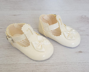 Cream T-bar soft sole shoes