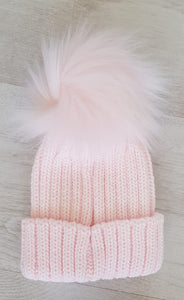 Baby pink faux fur pompom hat