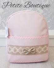 Load image into Gallery viewer, Spanish pink/camel bow backpack
