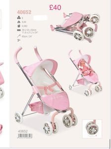 Spanish pink pushchair measurements on picture