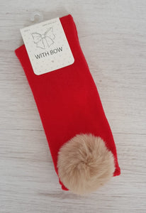 Red knee high socks with camel faux fur pompoms