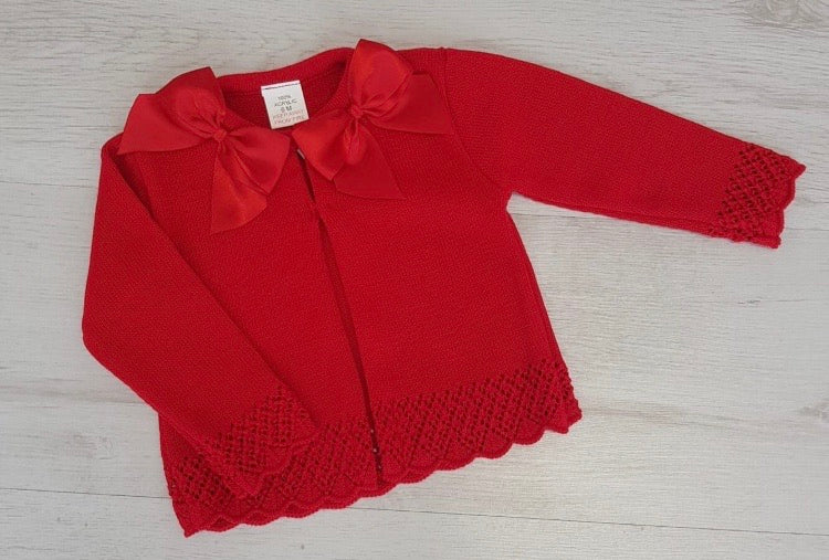 Spanish red double bow cardigan