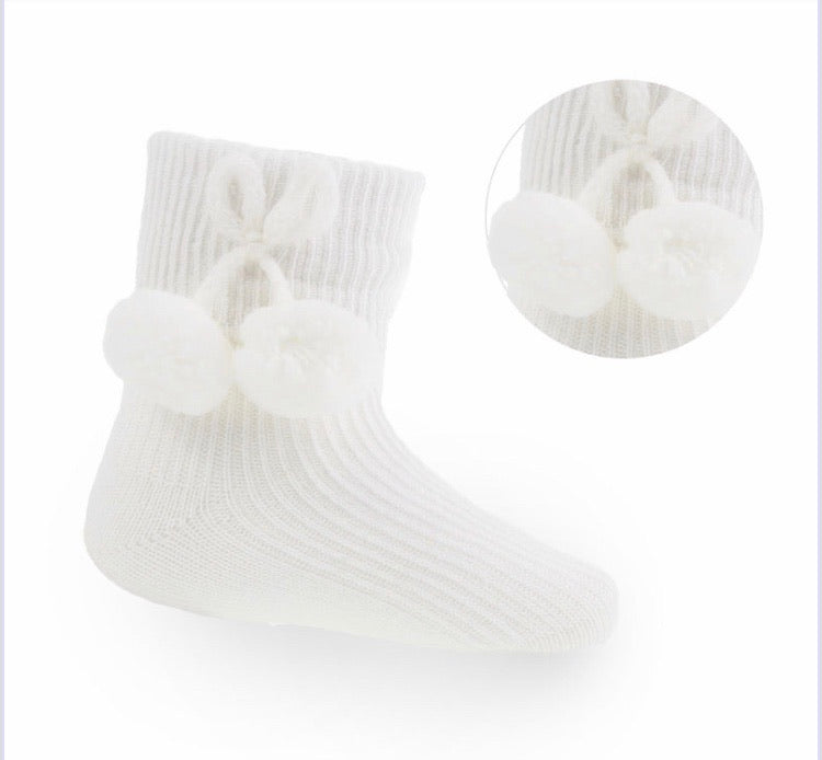 Pale cream pompom socks